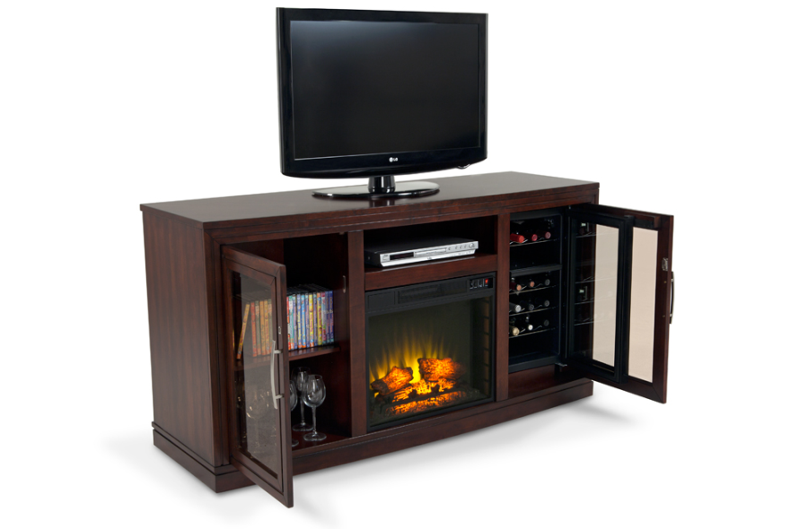 Tv stand console with a built in electric fireplace and wine cooler