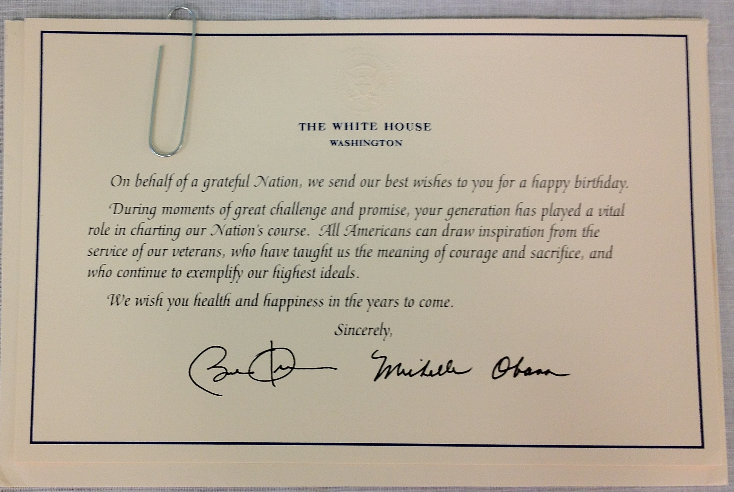 Happy Days – Birthday Card from White House