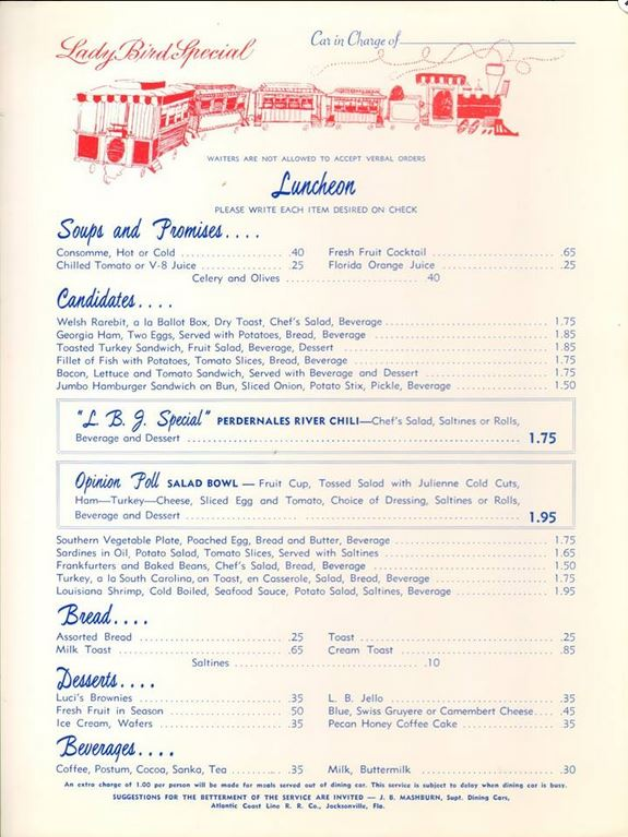 lady bird special menu