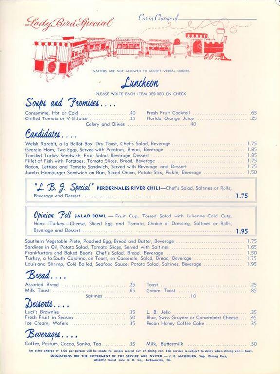 lady bird special menu
